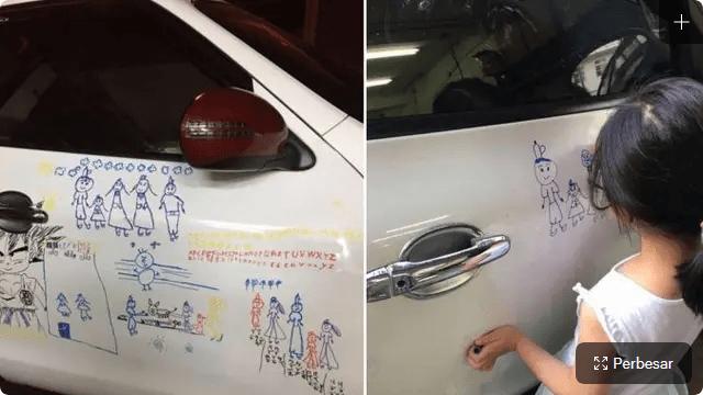 Pria Ini Biarkan Anaknya Coret-Coret Mobil, Alasannya Mengharukan