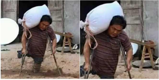 Meski Hidup Tanpa Kaki, Tapi Pria Ini Tetap Bekerja Keras Agar Anaknya Bisa Sekolah