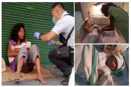 Wanita Gangguan Jiwa Melahirkan di Tepi Jalan