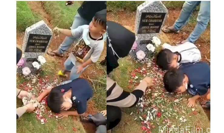 Tegarnya 2 Bocah Ziarah ke Makam Ibunya, Assalamualaikum Ma, Mama Lagi Ngapain